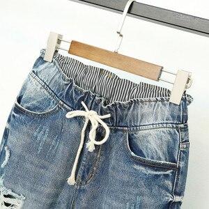 Image 5 - Verão rasgado namorado jeans para as mulheres moda solta vintage cintura alta jeans plus size 5xl pantalones mujer vaqueros q58