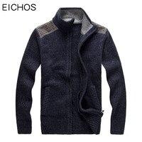 EICHOS Mens Cardigan Sweater Casual Stand Collar Mens Knitwear 2017 Fashion Patchwork Zipper Cardigan Brand Clothing