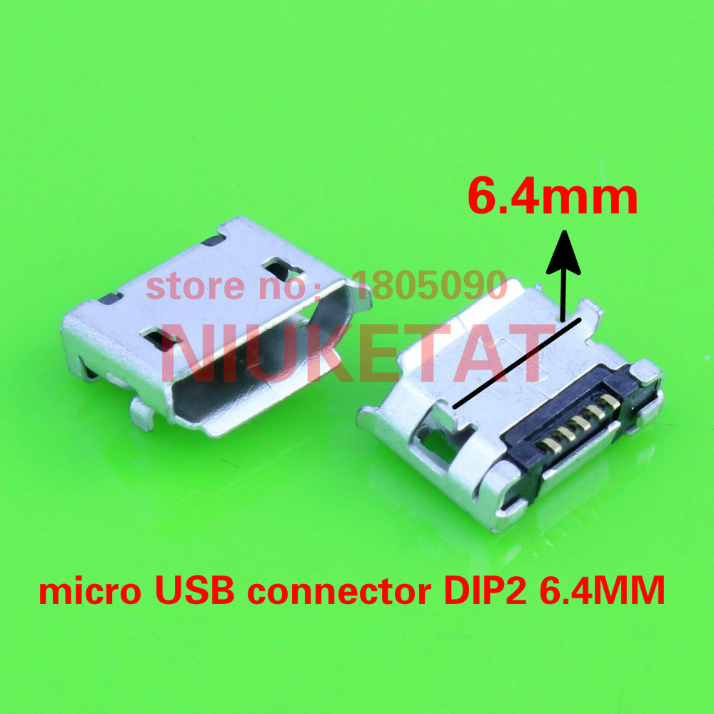 100pcs micro USB mini connector 5pin 6.4mm short needle 5P DIP2 Data port Charging port mini usb connector for Mobile end plug 100pcs box zhongyan taihe acupuncture needle disposable needle beauty massage needle with tube