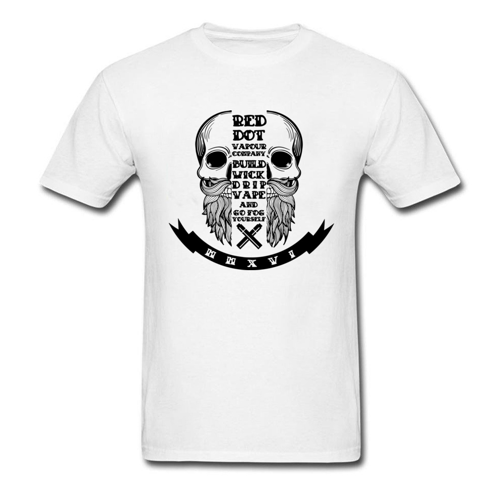 Red Dot Skull Print Normal Tees Round Collar Father Day 100% Cotton Short Sleeve T Shirts Adult Hipster Tops Tees Camisetas