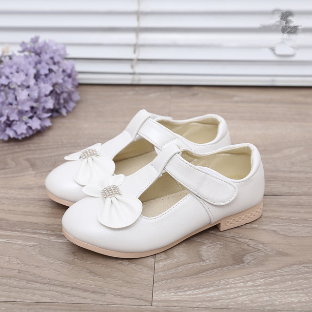 Girls Shoes 2017 Spring Fashion Leather Shoes For Children Princess Shoes  With Bow Performance Casual Student 869535ab8c60