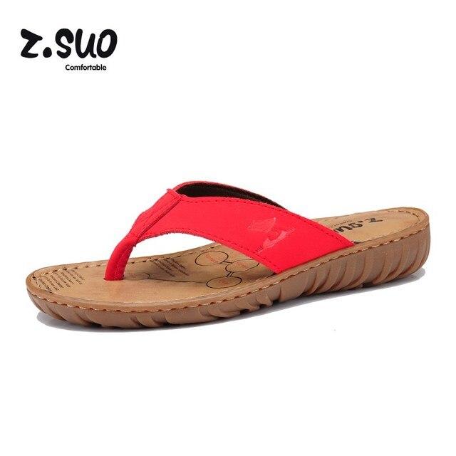 Z. suo женские на танкетке Вьетнамки Дамская пляжная обувь Шлепанцы из яловой кожи из коровьей кожи летние женские Босоножки размер: 35-39 красный