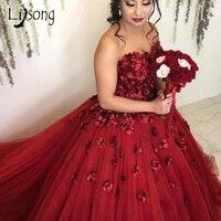 Романтические винно красные свадебные платья Красивая 3D Цветочная пышная балетная пачка Свадебные платья жемчужный шар платья Кружева Плю