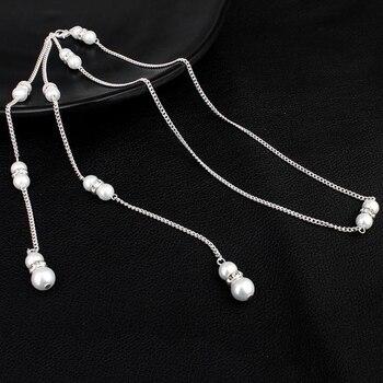 2d08dd516f4e Meetcute collar agua dorp de cristal de perla colgante de cadena joyería de  boda de novia sin espalda vestido largo collar