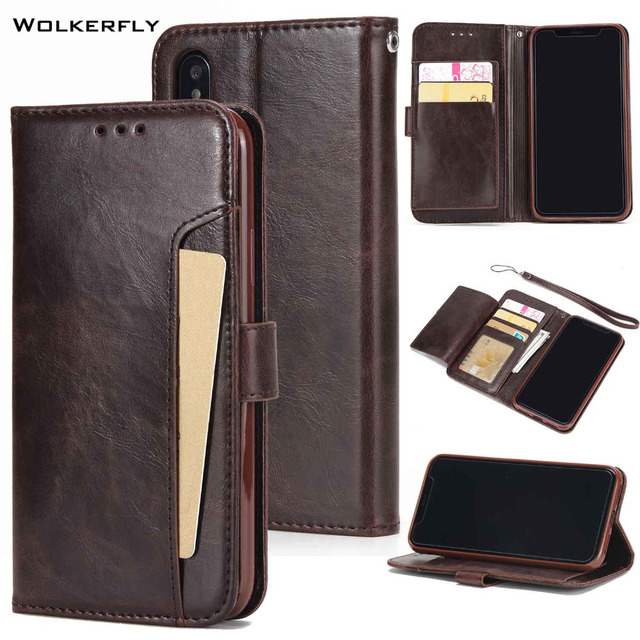 finest selection 24219 34412 US $7.37 18% OFF|For iPhone XS Case Business Wallet Credit Card Slots Case  for iPhone X XS Max 8 Plus 7 6s Plus Holster Leather Filp Silicon Case-in  ...