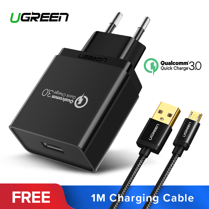 Ugreen USB Carregador 18 w Quick Charge 3.0 Carregador Do Telefone Móvel para o iphone Fast QC 3.0 Carregador para Huawei Samsung galaxy S9 + S8 +