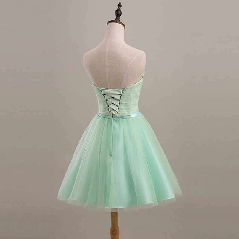 c0429aa2679b9 SJZL70L#Mint green short lace up bridesmaid dresses wedding party prom  dress Spring and summer 2018 new wholesale cheap girl
