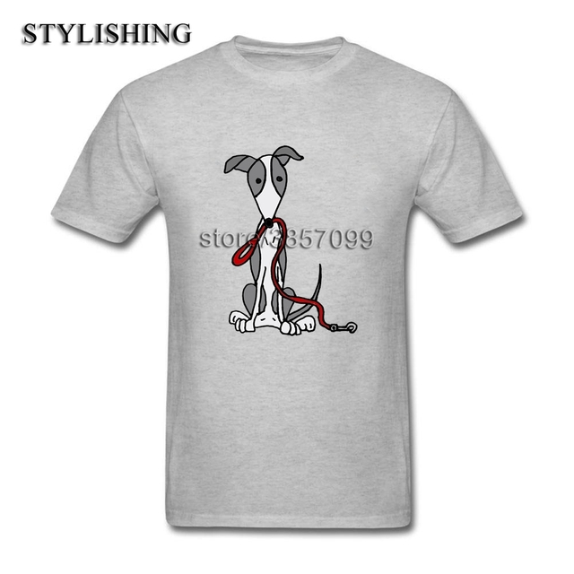 Hot Sale Short Sleeve Round Neck Tee Shirts For Men Birthday Gifts Cool Funny Greyhound Dog With Red Leash