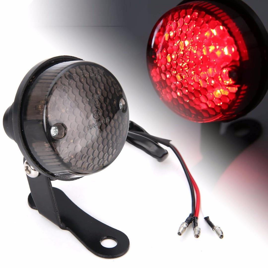 Red LED Motorcycle Universal Round Rear Tail Brake Light License Plate Lamp Black For Motorbike Chopper Dirt Bikes DC 12V