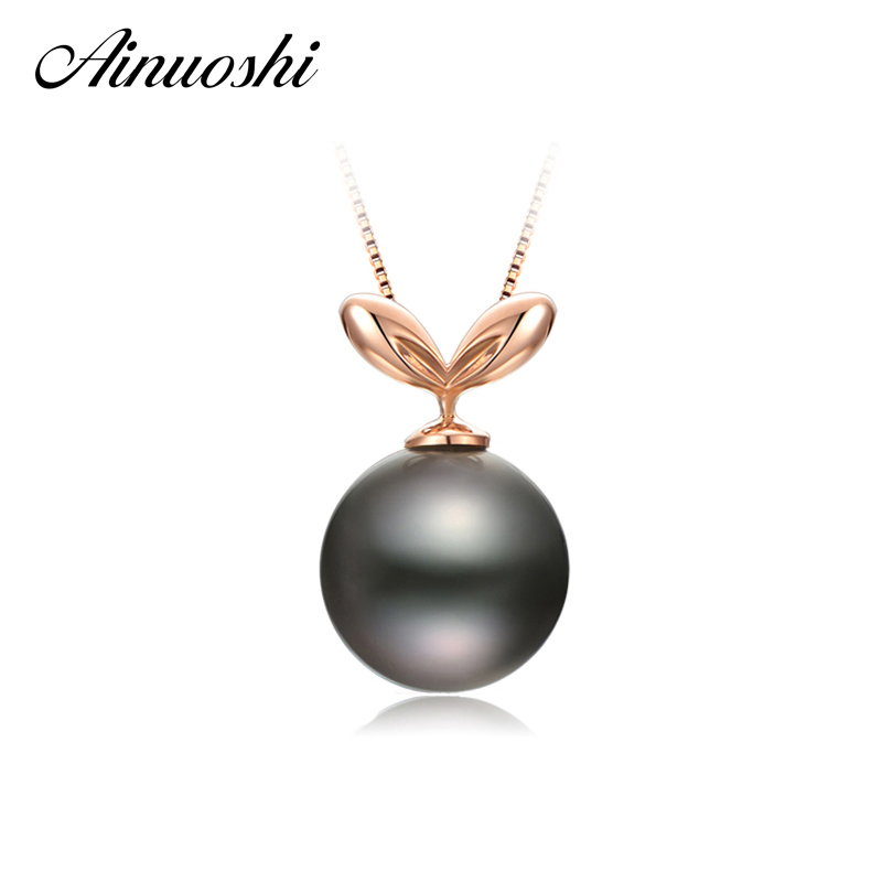 AINUOSHI 925 Sterling Silver Yellow Gold Color Seedling Necklace Pendants 10mm Round Black Cultured Pearl Tahiti Women PendantsAINUOSHI 925 Sterling Silver Yellow Gold Color Seedling Necklace Pendants 10mm Round Black Cultured Pearl Tahiti Women Pendants