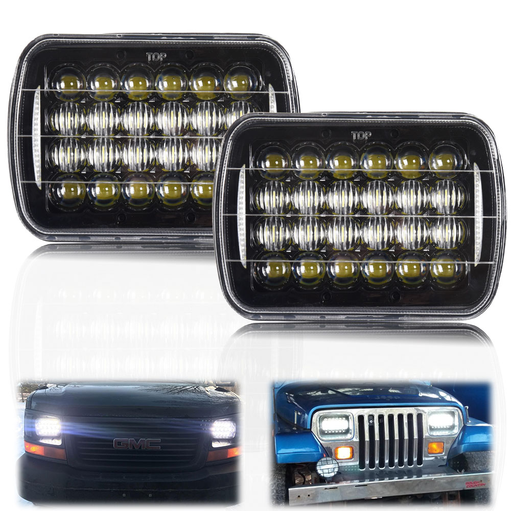 2pcs 5D 5X7inch 85W Led <font><b>Headlight</b></font> 7x6 12V Hi-Lo DRL for Jeep Wrangler YJ XJ Truck FLD Chevy S10 Firebird Celica <font><b>240SX</b></font> GMC image