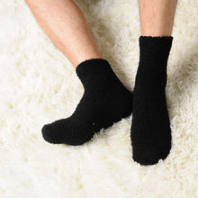 Solid Color Men Warm Thicken Coral Fleece Socks Winter Casual Fluffy Sleep Bed Ankle Length Socks