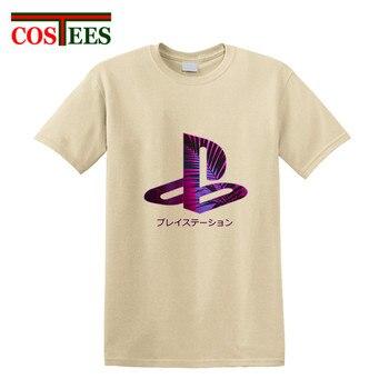 Creative Japan style purple glow plam leaf design PS Logo T shirt Video Game playstation T-shirt Men fans tshirt 2018 Summer Tee