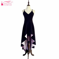 Sexy Black High Low Prom Dresses Short Front Long Back V Neck Spaghetti Simple Party Dresses