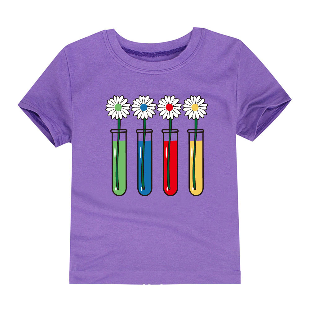 2018 new summer girls clothing cotton flower printing t for Kids t shirt printing
