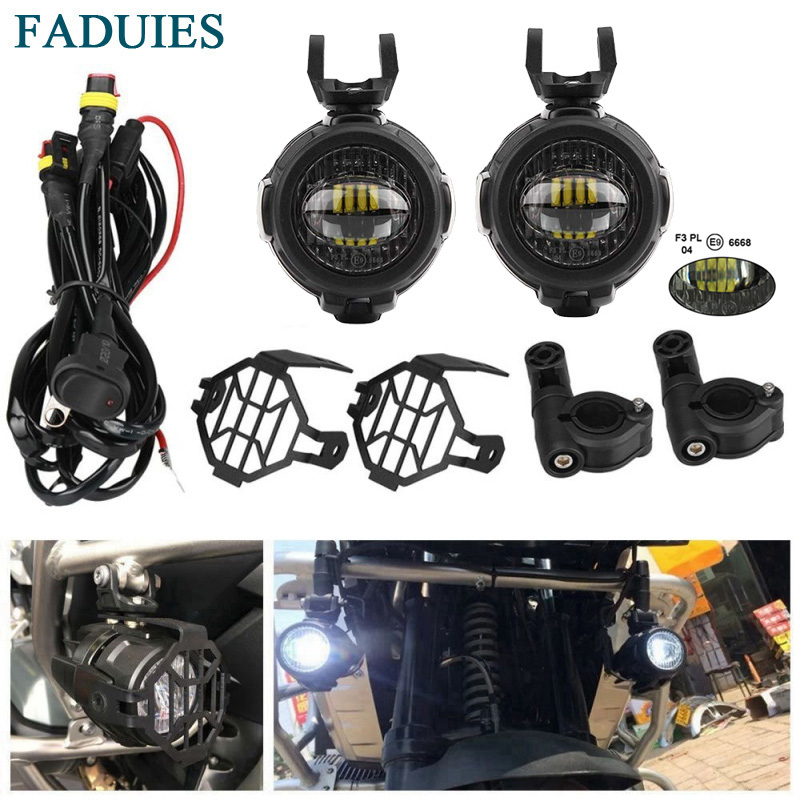 FADUIES E9 2Pcs LED Auxiliary Spot Driving Light + 2Psc Protective Guard + 1Psc Switch Wiring For BMW Motorcycle R1200GS F800GSwire wirelight guardwire guard -