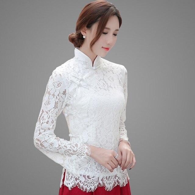 5b8b95cd6c Magro Blusa de Renda Das Mulheres Escavar Alargamento Camisa de Manga Longa  Sexy Chinês Tradicional Estilo