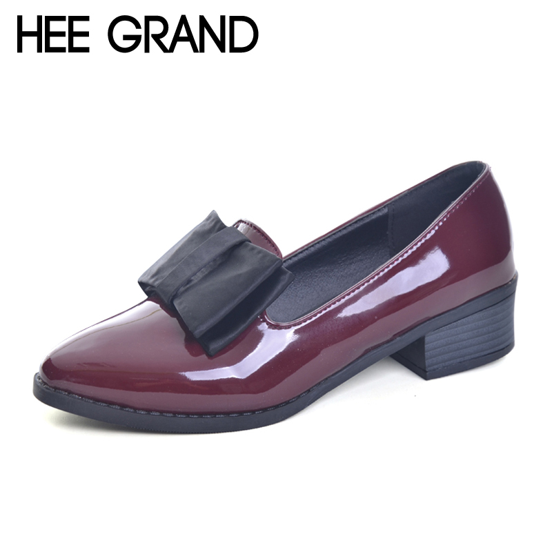 HEE GRAND Spring Platform Women Pumps With Bowtie Patent Leather Shoes Woman Pointed Toe Slip On Loafers Ladies Footwear XWD2527 women ladies flats vintage pu leather loafers pointed toe silver metal design