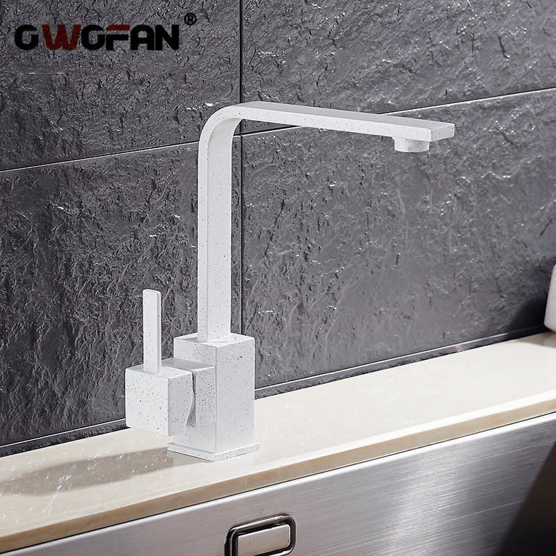 Kitchen Faucets Brass Kitchen Sink Water Faucet 360 Rotate Swivel Faucet Mixer Single Holder Single Hole White Mixer Tap N22-024