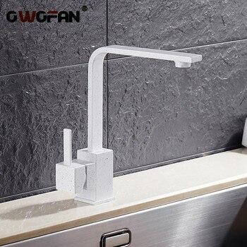 Küche Armaturen Messing Küche Waschbecken Wasser Wasserhahn 360 Drehen Swivel Wasserhahn Mixer Halter Single Loch Weiß Mischbatterie N22-026