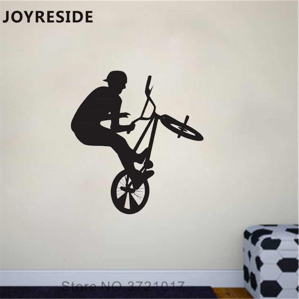 Joyreside bike jumping wall decal extreme sports wall sticker bmx art vinyl decor home livingroom decor