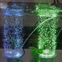 UFO LED renk dönüşümü oksijen lamba hava pompası akvaryum fish tank dekorasyon süs için kabarcık oyuncak
