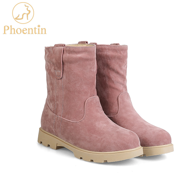 Phoentin Pink snow boots plush inside slip-on mid-calf flock womens boots woman winter shoes platform 2cm flat with heel FT168 lukuco pure color women mid calf boots microfiber made buckle design low hoof heel zip shoes with short plush inside