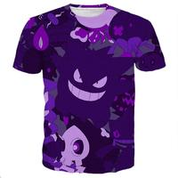 2017 Fashion High Quality Men Women Cool 3d Print Purple Gengar Ghost Short Sleeve Summer Loose
