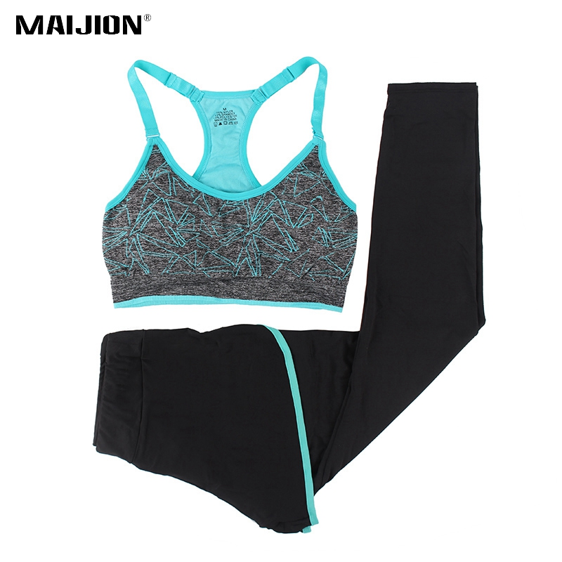 MAIJION Women Sports Running Sets For Gym Yoga Bra & Pants Leggings Set , 2Pcs Training Yoga Set Fitness Sportswear Sport Suits