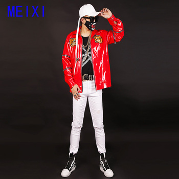Nightclub male singer performance clothing bar personality rock band male DJ guest sequined leather jacket