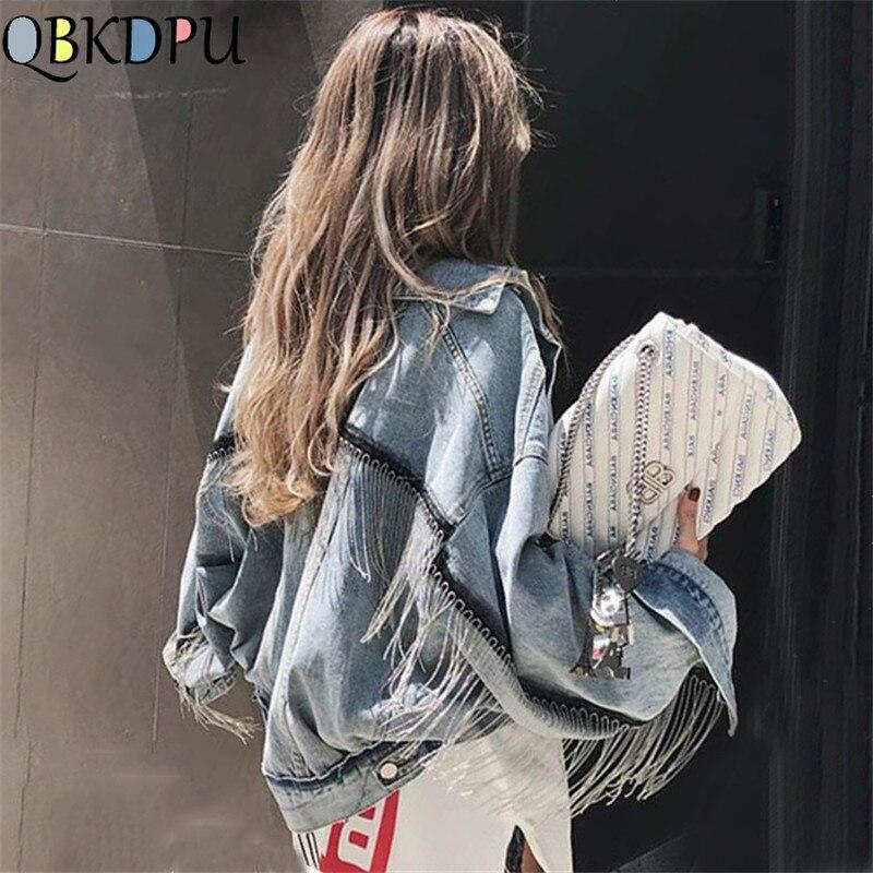 Delle donne del manicotto del blocco della nappa breve allentato bava giacca di jeans di Moda Femminile nuovo boyfrieds outwear 2019 Autunno Streetwear jean cappotto
