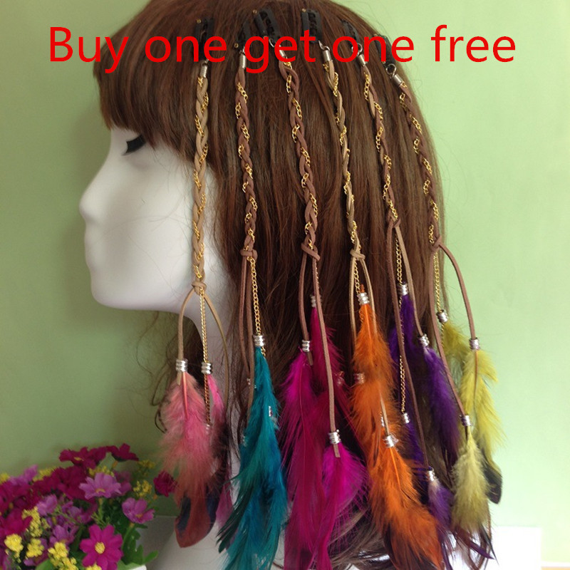 2pcs Fascinator National Style Plume Indian Tassel South Korea Velvet Colored Feather Hair Accessories