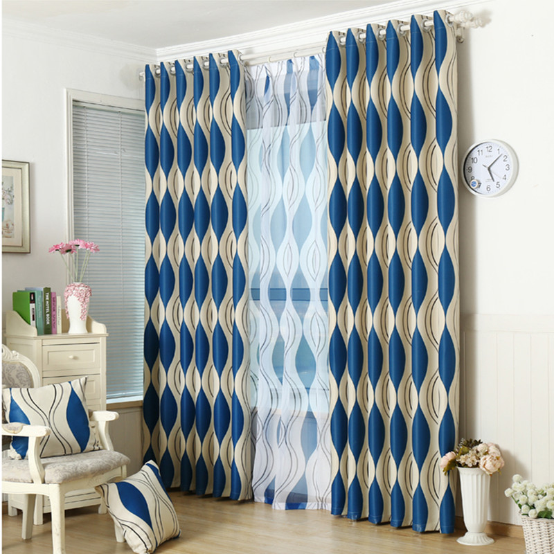 New Design Simple Curtains For Living Room Blue Wave Stripe Curtains For Windows Blackout