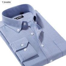 T. Акула MDNJ-XXX Для мужчин на пуговицах однотонный приталенный крой Синий Повседневные платья рубашки мужские рубашки с длинным рукавом Стильная деловая мужская рубашка