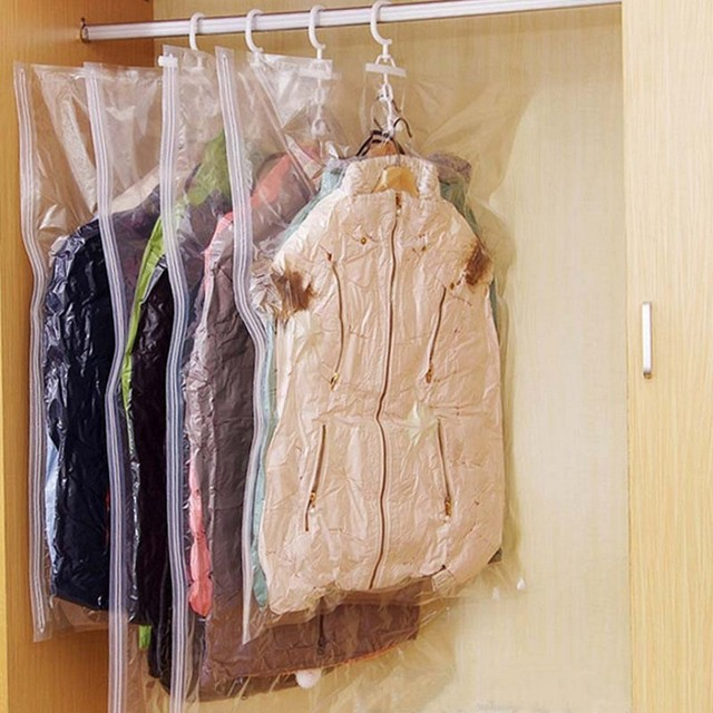 NEW Hanging Transparent Vacuum Storage Bag Closet Space Save Organizer Holders Foldable Bags Pack Clothing of clothes dust cover