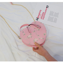 PU Solid Color Small Fresh Womens Bag Trend Korean Fashion Cross Chain Lace Shoulder 2019 Summer New Style