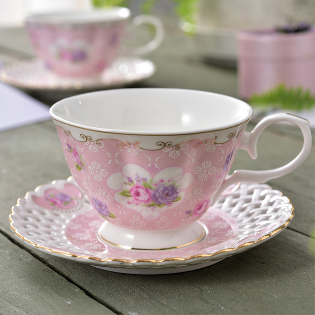 465a6f0d9c1 Aliexpress.com : Buy Fresh Pastoral Style Bone China Coffee Cup and Saucer  Set English Afternoon Tea Cup Hotel Black Flower Tea Cup Free Shipping from  ...