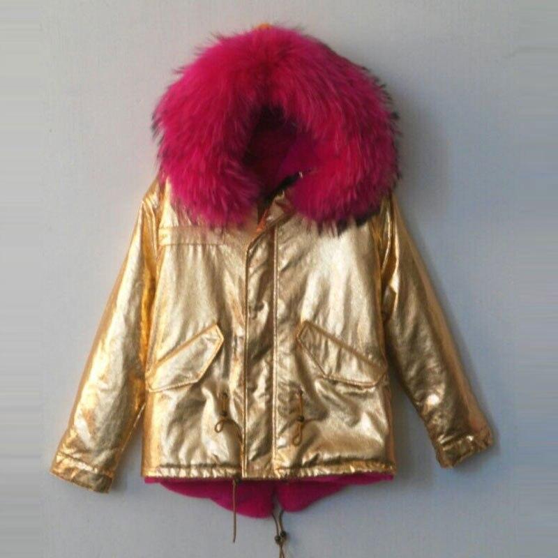 Короткий стиль ярко розовый цвет красный из искусственного меха внутри теплая куртка с из кожи золотого цвета снаружи пальто