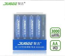 1.5 v AA 14500 lifepo4 Li-ion Jouets batteries 3000mWh 4 pcs JUGEE AA Li-polymère batterie au lithium rechargeable batterie + chargeur