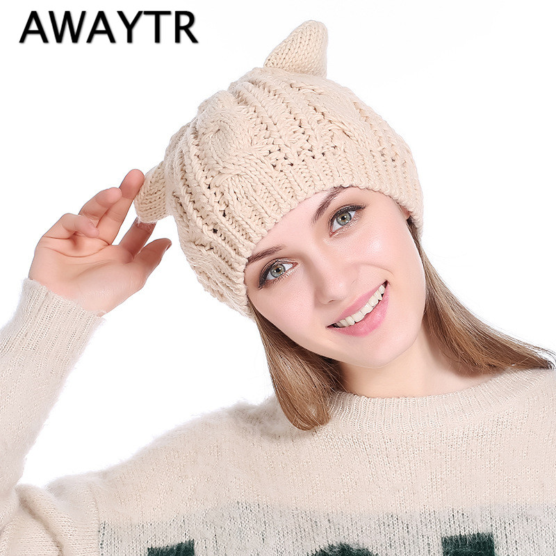 AWAYTR Autumn Winter Women Cotton Knitted Beanies Black Cute Cat Ears Warm Solid Casual Hats Female Skullies Cap awaytr autumn skullies
