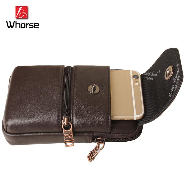 Logotipo da marca! nova Garantia Saco Da Cintura Masculina Cinto de Couro Genuíno Dos Homens Carteira Portátil Do Telefone Móvel Pacote de Cintura Viagem WB73895