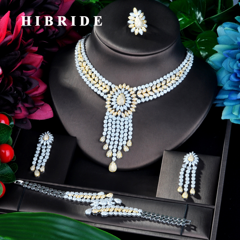 HIBRIDE Big 4 PCS Full Micro Cubic Zirconia Women Wedding Dress Choker Necklace Earring Jewelry Set For Wedding N-863HIBRIDE Big 4 PCS Full Micro Cubic Zirconia Women Wedding Dress Choker Necklace Earring Jewelry Set For Wedding N-863
