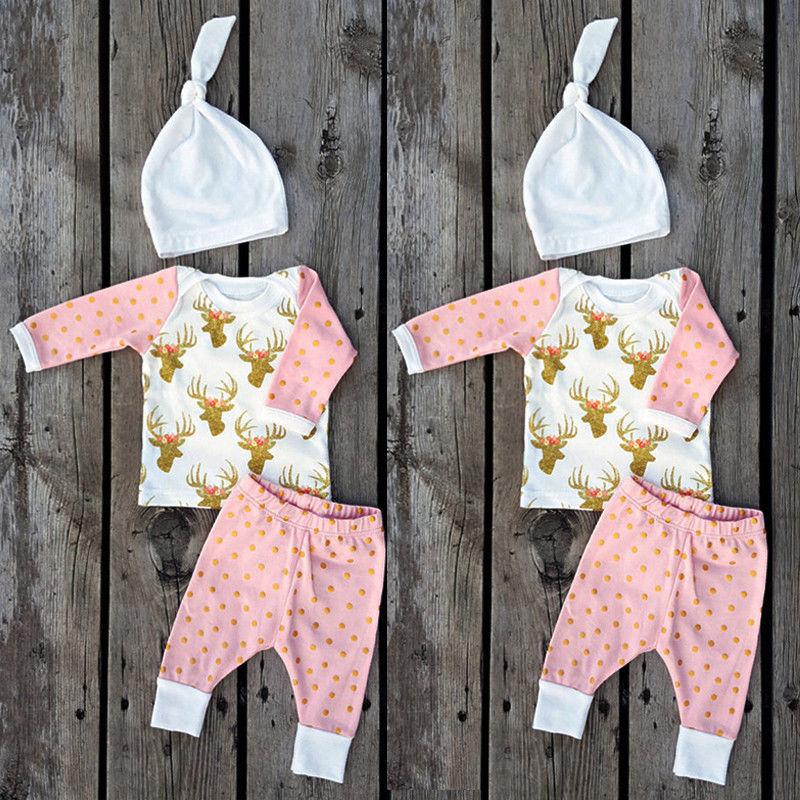 86f3e6de98 Newborn Toddler Kids Baby Boy Girl Tops+Long Pants Leggings Outfits Clothes  3Pcs Set
