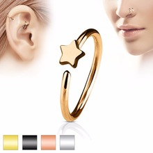 Фотография Vintage Body Pircings Jewelry Charms Simple Star Heart Butterfly Nose Ring Shellhard  Surgical Steel Earring Nose Hoop Loop Ring