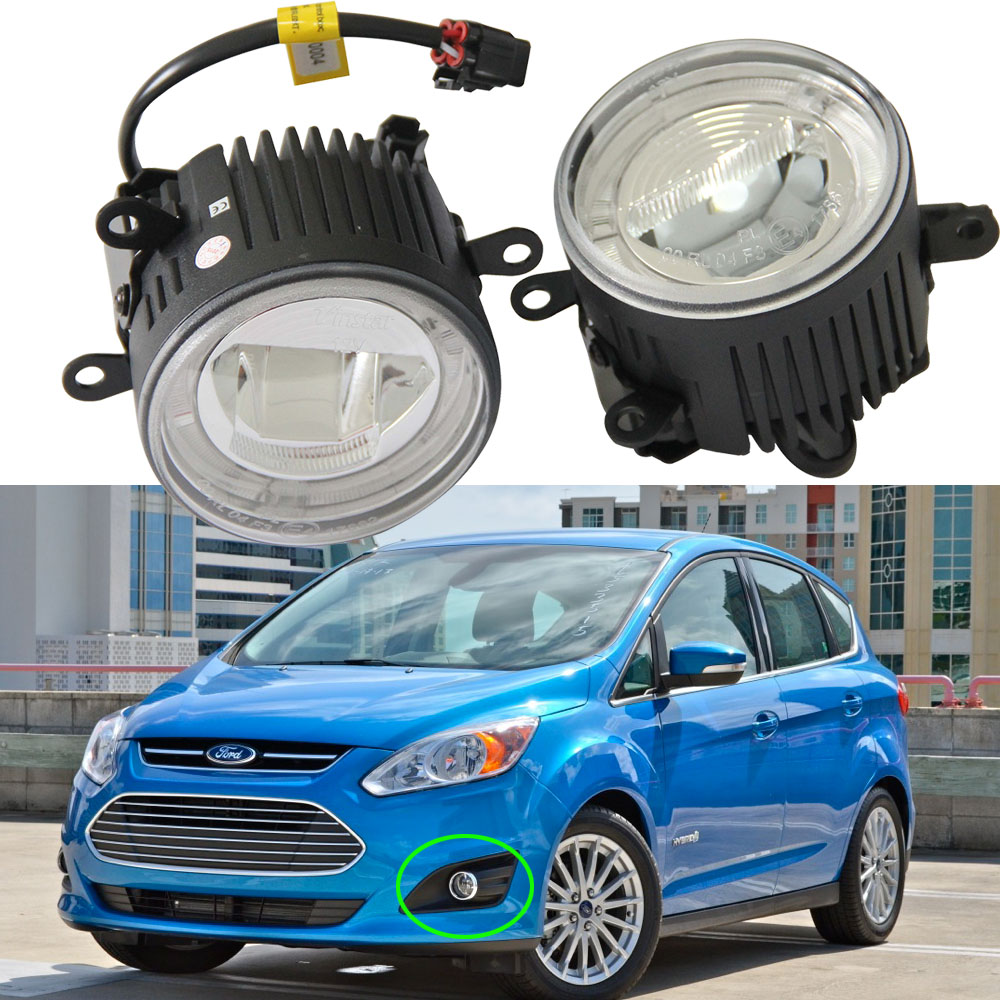 цены 2PCS car-styling DRL Fog Lamps lighting LED Lights For FORD TRANSIT TOURNEO Mustang FALCON C-Max Explorer Canbus Led driving kit