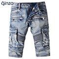 Hombres casual bolsillos jeans motorista de Verano hasta la rodilla pantalones cortos de mezclilla azul de la vendimia