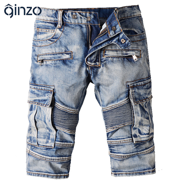 Men's casual vintage blue pockets biker jeans Summer knee length denim shorts