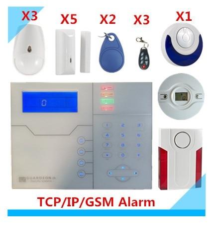 Free Shipping DIY TCP IP Alarm GSM Alarm System Burglar Security Alarm Smart Home Alarm system With Outdoor Strobe Flash Siren