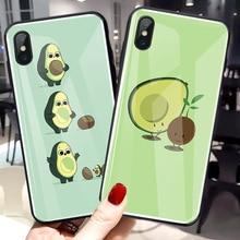 Green Cute Avocado Fruit Tempered Glass Case For OPPO Find X R17 PRO A59 A59S A77 A79 R11 Plus Anti-knock Cover