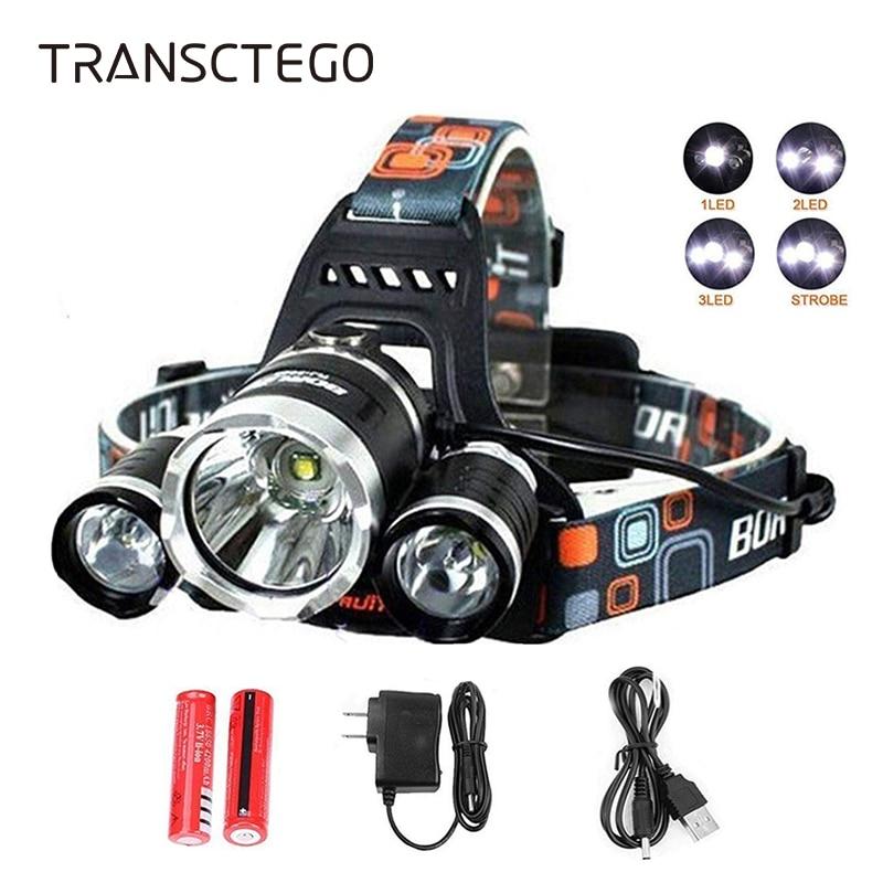 T6 LED Headlight Headlamp 9000 Lumen Rechargeable Head Light Flashlight 18650 Waterproof Portable Fishing Hunting Torch Lights